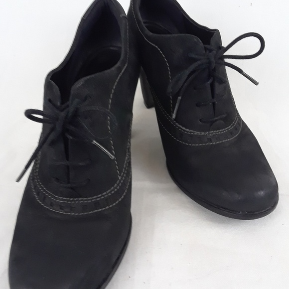 Ecco Womens Shoes Oxford Booties Black Nubuck SS40
